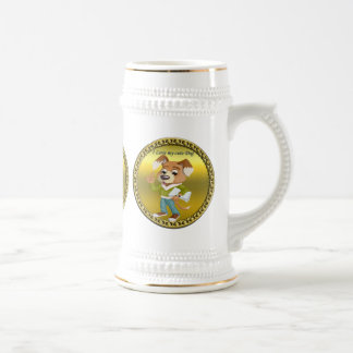 Cartoon dog student getting ready for school #1 beer stein
