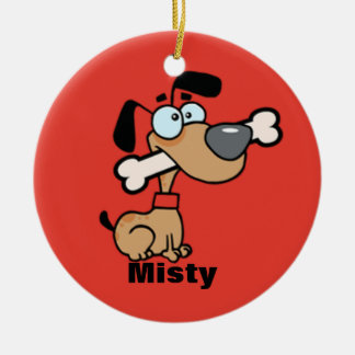 Cartoon Dog With A Bone In His Mouth Ornament