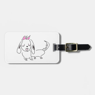 Cartoon Dog With a Pink Bow Luggage Tag