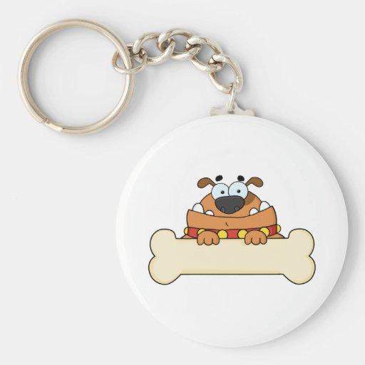 Cartoon Dog With Bone Banner Keychain