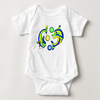Cartoon Dolphins Baby Bodysuit