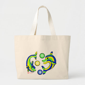 Cartoon Dolphins Large Tote Bag