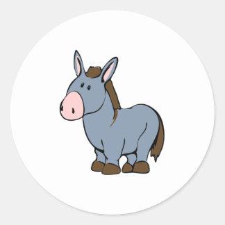 Cartoon Donkey Classic Round Sticker