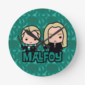 Cartoon Draco and Lucius Malfoy Character Art Round Clock