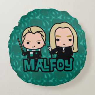 Cartoon Draco and Lucius Malfoy Character Art Round Cushion
