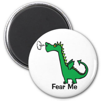 Cartoon Dragon Fear Me 6 Cm Round Magnet