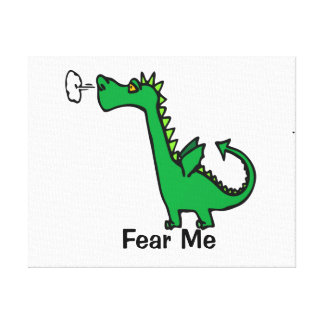 Cartoon Dragon Fear Me Canvas Print