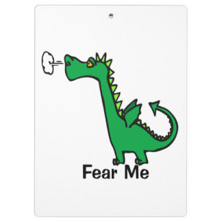 Cartoon Dragon Fear Me Clipboards