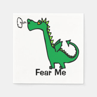 Cartoon Dragon Fear Me Paper Napkin