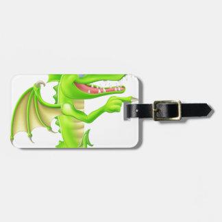 Cartoon Dragon Peeking Round Sign Bag Tag
