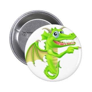 Cartoon Dragon Peeking Round Sign Pinback Button