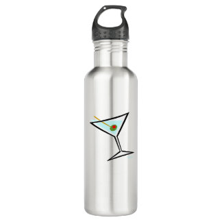 Cartoon Dry Vodka Martini Glass Pimento Olive Cool 710 Ml Water Bottle