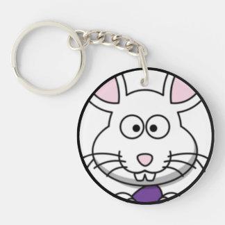 Cartoon Easter Bunny Face Single-Sided Round Acrylic Key Ring