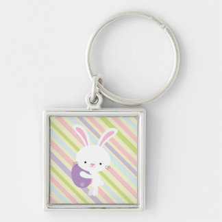 Cartoon Easter Rabbit with Stripes Keychain