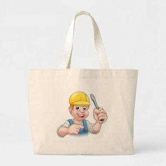 Cartoon Electrician Holding Screwdriver Large Tote Bag