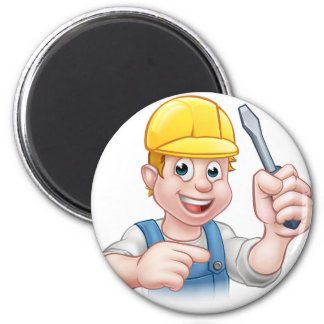 Cartoon Electrician Holding Screwdriver Magnet