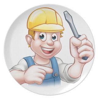 Cartoon Electrician Holding Screwdriver Plate