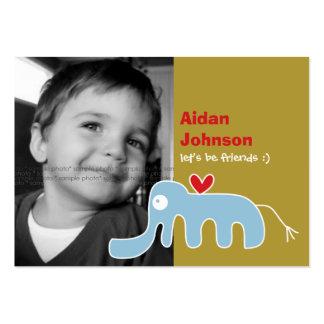 Cartoon Elephant Kids Custom Photo Playdate Card Business Card Template