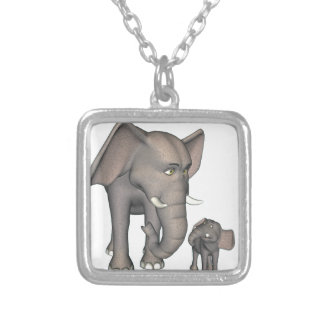 Cartoon Elephant Mother and Son Silver Plated Necklace