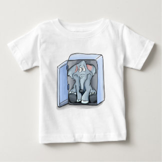 Cartoon elephant sitting inside a refrigerator baby T-Shirt