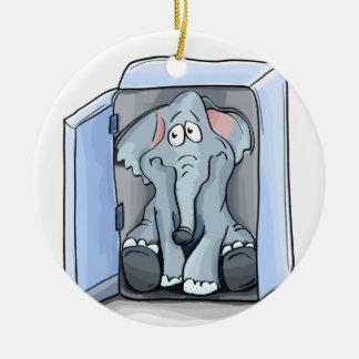 Cartoon elephant sitting inside a refrigerator ceramic ornament
