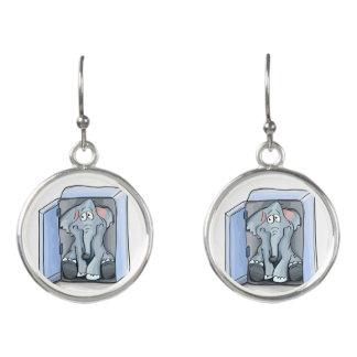 Cartoon elephant sitting inside a refrigerator earrings