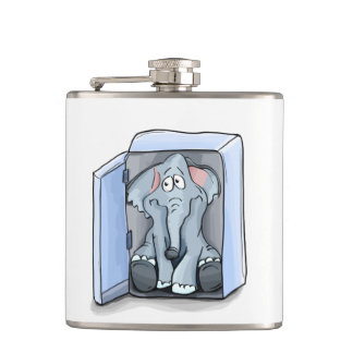 Cartoon elephant sitting inside a refrigerator hip flask