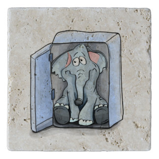 Cartoon elephant sitting inside a refrigerator trivet