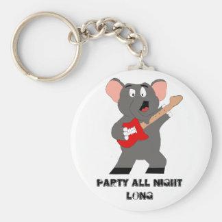 Cartoon Elephant With Guitar Basic Round Button Key Ring