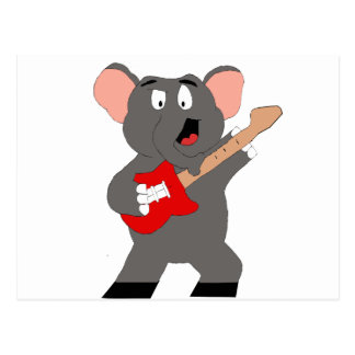 Cartoon Elephant With Guitar Postcard