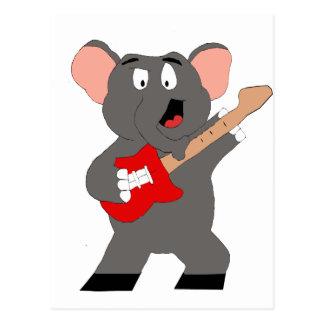 Cartoon Elephant With Guitar Postcard