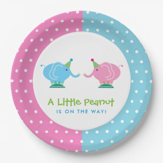 Cartoon Elephants Gender Reveal Baby Shower Paper Plate