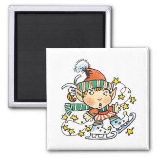 Cartoon Elf on Ice Skates Magnet