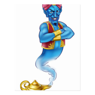 Cartoon Evil Aladdin Genie Postcard