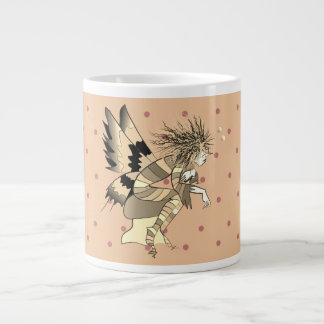 Cartoon Fairy Male Elf Butterfly Polka Dots Girly Large Coffee Mug