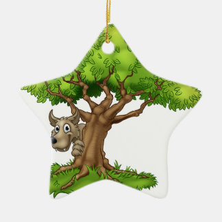 Cartoon Fairytale Big Bad Wolf and Tree Ceramic Ornament