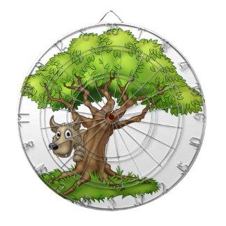Cartoon Fairytale Big Bad Wolf and Tree Dartboard