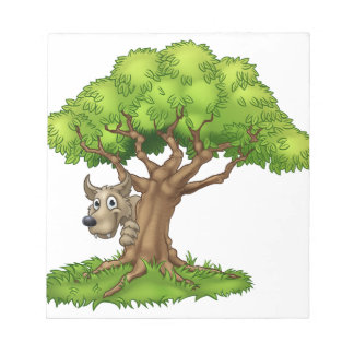 Cartoon Fairytale Big Bad Wolf and Tree Notepad