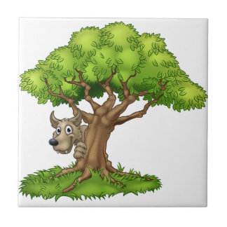 Cartoon Fairytale Big Bad Wolf and Tree Tile