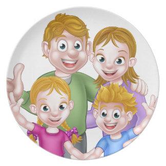 Cartoon Family Dinner Plate
