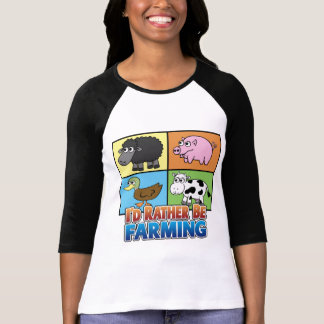 Cartoon Farm Animals - I'd rather be farming! T-Shirt