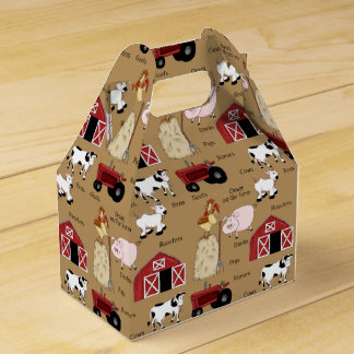 Cartoon Farm pattern Gable favor box