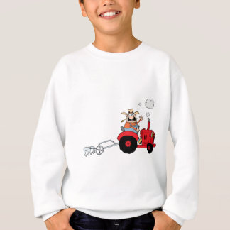 Cartoon Farmer Driving A Red Tractor Sweatshirt