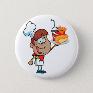 cartoon fast food waiter character 6 cm round badge
