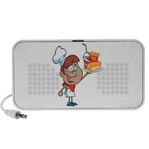 cartoon fast food waiter character speaker