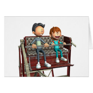 Cartoon Father and Son on a Ferris Wheel Card