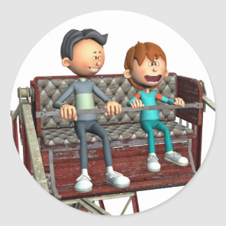 Cartoon Father and Son on a Ferris Wheel Classic Round Sticker