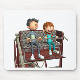 Cartoon Father and Son on a Ferris Wheel Mouse Pad