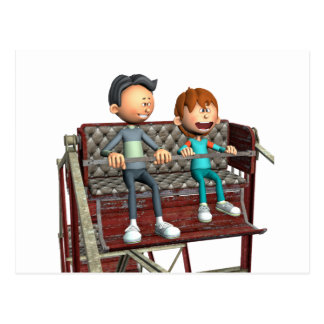Cartoon Father and Son on a Ferris Wheel Postcard