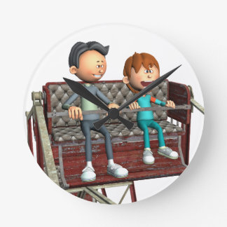 Cartoon Father and Son on a Ferris Wheel Round Clock